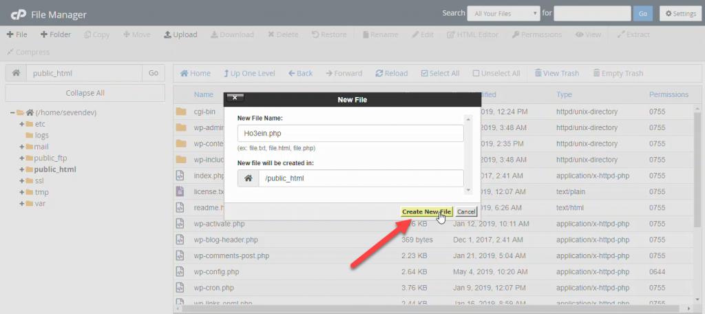 مدیریت فایل در cpanel