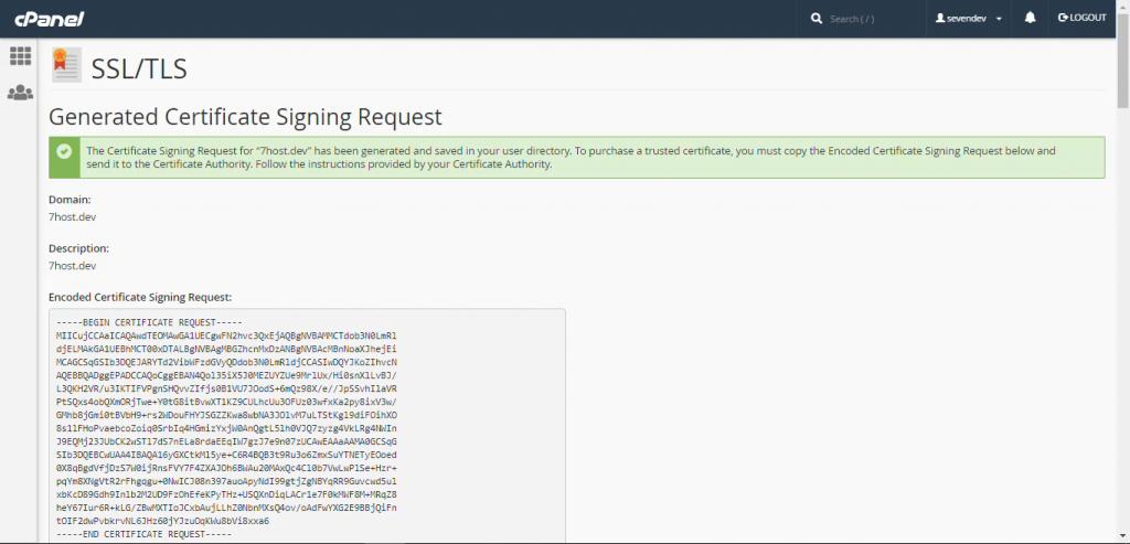 کدهای رمزنگاری شده CSR در سی پنل