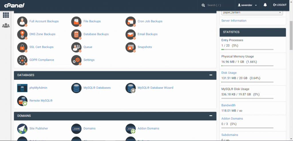 انتخاب مدیریت پایگاه داده با ابزار phpMyAdmin