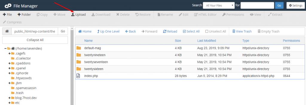 آپلود فایل قالب برای نصب از طریق سی پنل