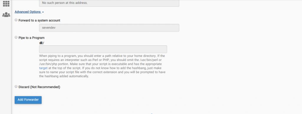 قسمت Advance Option برای انتقال خودکار یک ایمیل به ایمیل دیگر در سی پنل