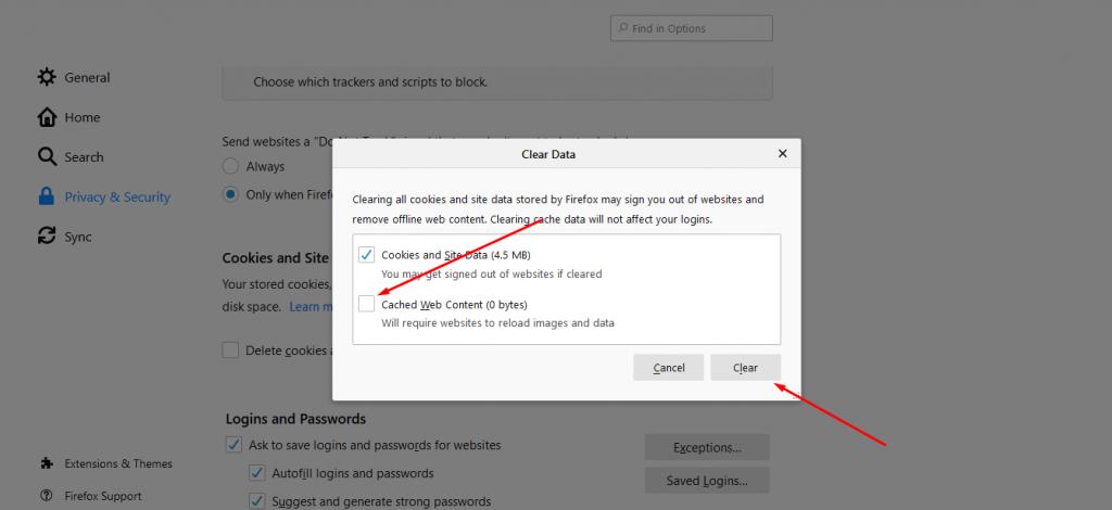 حذف حافظه کش مرورگر Firefox