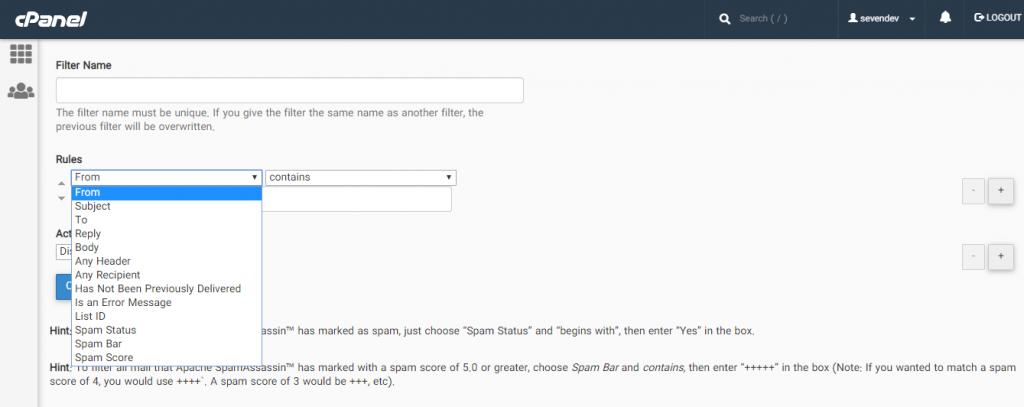 المان های مختلف برای فیلتر کردن ایمیل های دریافتی در سی پنل
