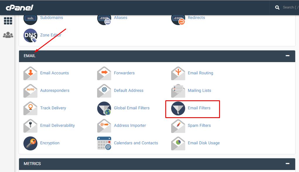 ورود به ابزار Email Filters برای فیلتر کردن دریافت ایمیل