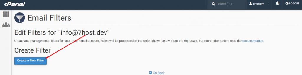 ایجاد تنظیمات برای فیلتر کردن ایمیل های دریافتی در سی پنل