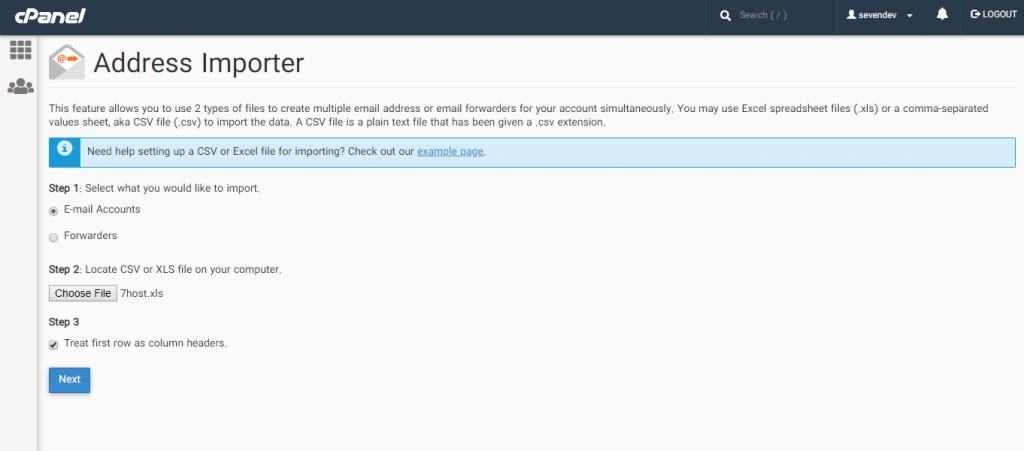 اضافه کردن لیست ایمیل ها از طریق ابزار Address Importer