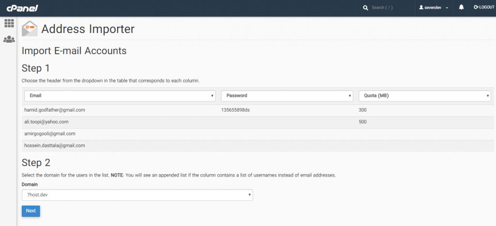 شیوه افزودن لیست ایمیل ها با استفاده از Address Importer در سی پنل