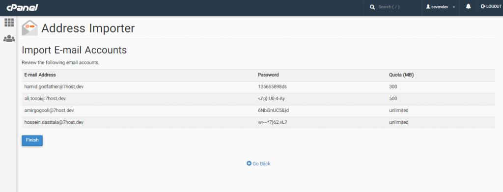 افزودن لیست ایمیل ها با استفاده از Address Importer در سی پنل