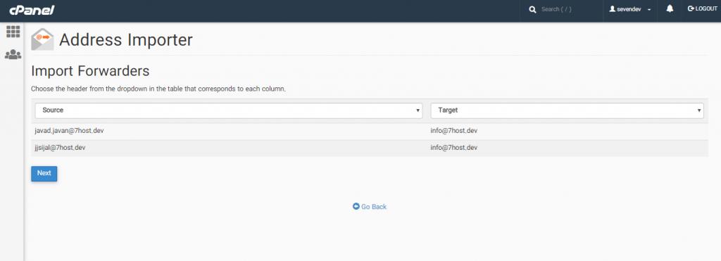 اضافه کردن لیست ایمیل ها با استفاده از Address Importer در سی پنل