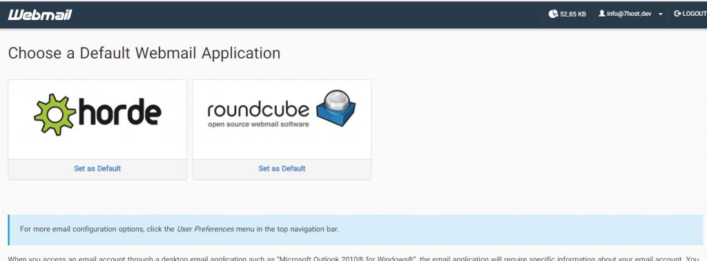 رابط گرافیکی وب میل برای صندوق ایمیل سازمانی در هاست سی پنل