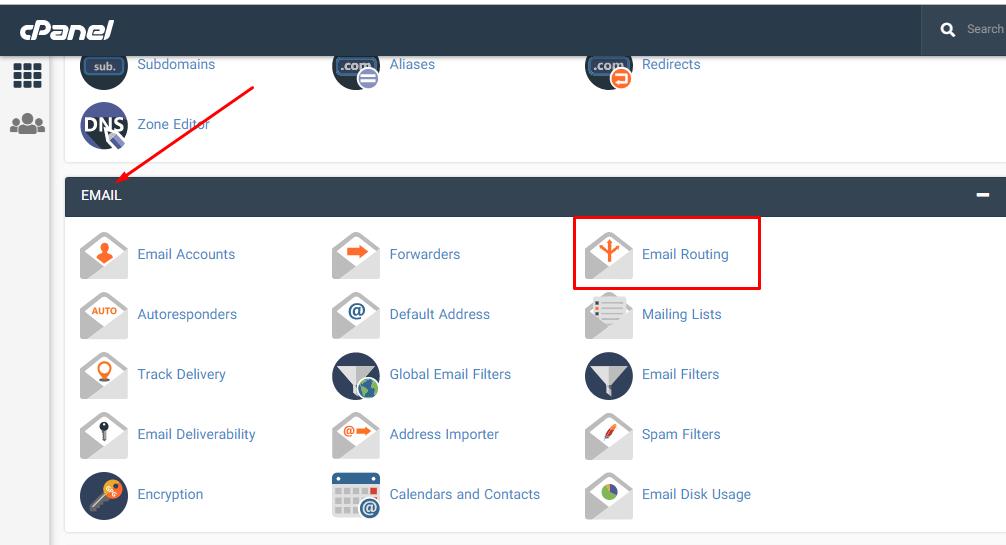 انتخاب Email Routing یا مسیریابی ایمیلی در سی پنل