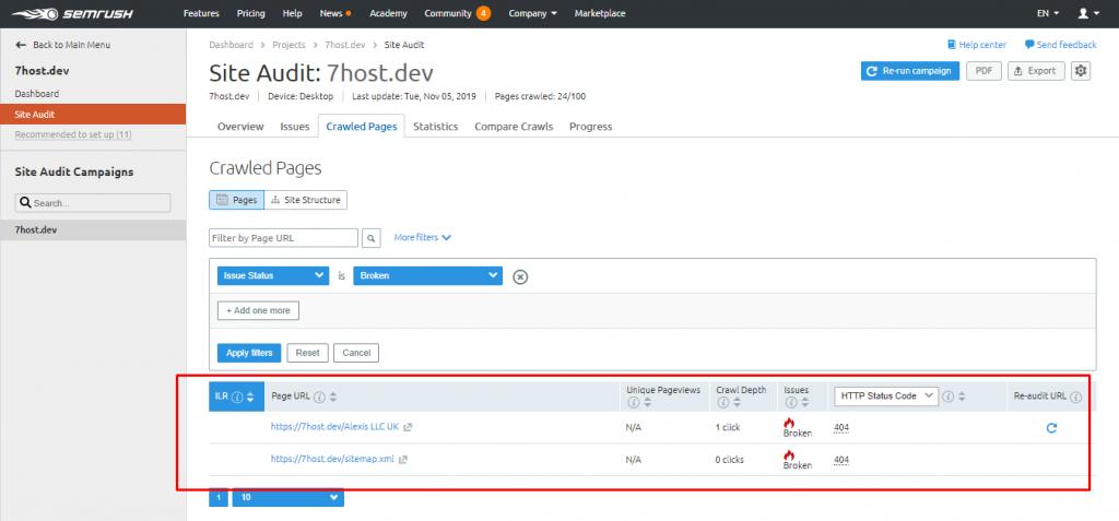 پیدا کردن لینک های خراب در وردپرس با استفاده از SEMRush