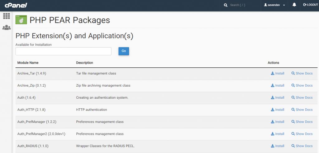آموزش نصب بسته های php در سی پنل با ابزار PHP PEAR Packages