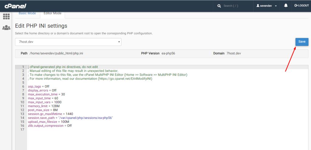 نحوه ویرایش فایل php.ini با ابزار MultiPHP INI Editor در سی پنل - قسمت editor mode